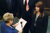 Denton County Judge Mary Horn swears in Michelle French as tax assessor/collector on Tuesday.David Minton - DRC