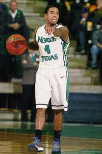 North Texas freshman guard P.J. Hardwick calls out to his teammates Thursday against Troy at the Super Pit. DRC/David Minton