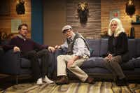 "Scott Aukerman, left, appears with guests Andy Daly and Amy Pohler in an episode of ""Comedy Bang! Bang!"" The first season of the IFC show is coming to DVD.IFC"