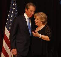 Lt. Gov. David Dewhurst and state Sen. Jane Nelson, R-Flower Mound, greet each other at the Denton County Republican Party's dinner Saturday at the Hyatt Regency DFW.Michael Ainsworth - The Dallas Morning News