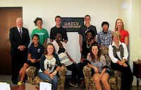 DATCU recently introduced its Junior Board of Directors. Standing, from left, are DATCU President and CEO Dale Kimble, Morgan Carter, Max Atkinson, Javan Stalls, Virin Tamprateep and DATCU Senior Vice President and Chief Financial Officer Melanie Vest. Seated, from left, are Haylee Smith, Emily Staniszewski, Dionne Agawu, Jasmine Kennard, Kylie Richter and Pat Sherman, DATCU vice president of business development.Courtesy photo