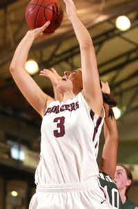 TWU forward Ria Pateraki takes a shot against Eastern New Mexico on Saturday at Kitty Magee Arena. TWU lost 80-70 in overtime.DRC - David Minton