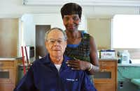 Longtime barber Leonard Logan, shown with his wife, Freddie, in 2013, has been honored by the Southeast Denton Neighborhood Association.John D. Harden - DRC