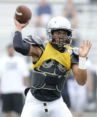 Jerrod Heard passes during Guyer High School spring football game, Thursday, May 23, 2013, in Denton, TexasMatt Strasen - Chronicle
