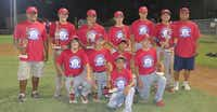 The Red All-Stars of the 15U league are: front, Javon Sherrill; middle row, Max Scalf, Noah Hernando, Abel Puente Jr. and Bradley Miles; and back row, head coach Abel Puente, Garrett Sawyer, Osvel Gonzales, Tanner Willis, Jaben Hodges, Brandon Harrison and assistant coach Anjel Gonzales.Courtesy photo