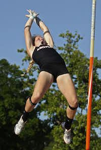 Jessie Johnson of Argyle wins the Section A pole vault competition Texas Relays on March 30 in Austin.DMN file photo