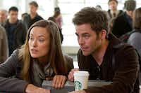 "Sam (Chris Pine) and his girlfriend (Olivia Wilde) travel to Los Angeles after his father's death in ""People Like Us.""DreamWorks"