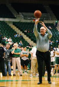 Lane Rawlins takes a shot in a celebrity free-throw contest in October 2012 at UNT's Super Pit.David Minton - DRC file photo