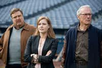 "Gus (Clint Eastwood, right), an aging baseball scout, draws support — and concern — from his boss, Pete (John Goodman), and daughter Mickey (Amy Adams) in ""Trouble With the Curve.""Warner Bros."