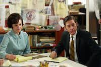 "Peggy Olson (Elisabeth Moss) and Ted Chaough (Kevin Rahm) try to figure out their places in the newly merged ad agency in the sixth season of ""Mad Men.""AMC"