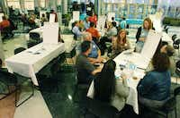 Those attending the community forum break out into small groups to discuss the Denton Plan 2030 comprehensive plan to determine future zoning and land use in Denton, Thursday, November 1, 2012, at the LaGrone Advanced Technology Complex in Denton, TX.David Minton