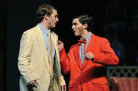 Chance Steward, left, stars as Joe Hardy and Teddy Santiesteban plays Mr. Applegate during the Guyer High School production of Damn Yankees! on Friday in Denton.Michael Clements