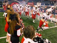 The Argyle Eagles take the field for Friday's Class 3A Division II state title game against Fairfield at AT&T Stadium in Arlington.David Minton - DRC