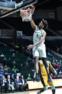 North Texas forward Jeremy Combs dunks during a game at the Super Pit earlier this season.Jeff Woo/DRC