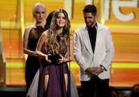 "Maren Morris accepts the award for best country solo performance for ""My Church"" at the 59th annual Grammy Awards on Feb. 12 in Los Angeles.Matt Sayles, Invision/AP file photo"