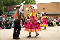 Children from the Rayzor Elemetary Ballet Folklorico danced on the Festival Stage during the Denton Arts and Jazz Festival