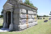 A mausoleum in the IOOF Cemetery had been spray painted with illegible words and an obscenity sometime between 3 p.m. Monday and noon Tuesday.DRC