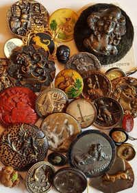 An example of the buttons collected by the Texas State Button Society.Texas Stater Button Society