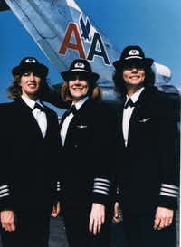 Beverley Bass (center) was among the first all-female flight crews for American Airlines on Dec. 30, 1986. The trip made national news. Terry Claridge, left, was the co-pilot on the trip, and Tracy Prior, right, was the flight engineer.