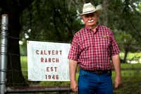Tommy Calvert, 66, stands beside his family's ranch sign. Calvert Ranch has been passed down through generations of Calverts, starting after Tommy's grandfather bought the original 140 acres in 1946. Calvert also serves as president of the Denton County Farm Bureau.For the DRC
