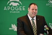 Wren Baker speaks at a press conference after being introduced as the new director of athletics at the University of North Texas on Aug. 1, 2016, at Apogee Stadium in Denton.DRC file photo