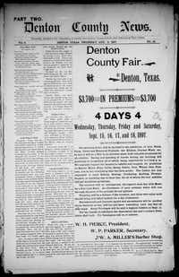 "<p><strong style=""font-size: 1em; background-color: transparent;"">The Aug. 5, 1897, edition of the ""Denton County News,"" prelude to the Denton Record-Chronicle, promotes an upcoming fair.</strong></p>Courtesy"