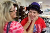 Angela Biggs, left, and her daughter Amber Reynolds go shopping for clothes at Twice as Nice Resale of Denton. DRC