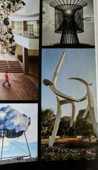 """""""DanceMM,"""" a three-story sculpture of two figures dancing by Sanger artist Jerry Daniel, made the pages of <i>Texas Highways </i>magazine. The sculpture is located in Hall Park's Texas Sculpture Garden.staff photograph"""