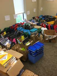 Backpacks and school supplies awaited the 178 children in the Krum Independent School District on Aug. 5, 2017.First UMC of Krum