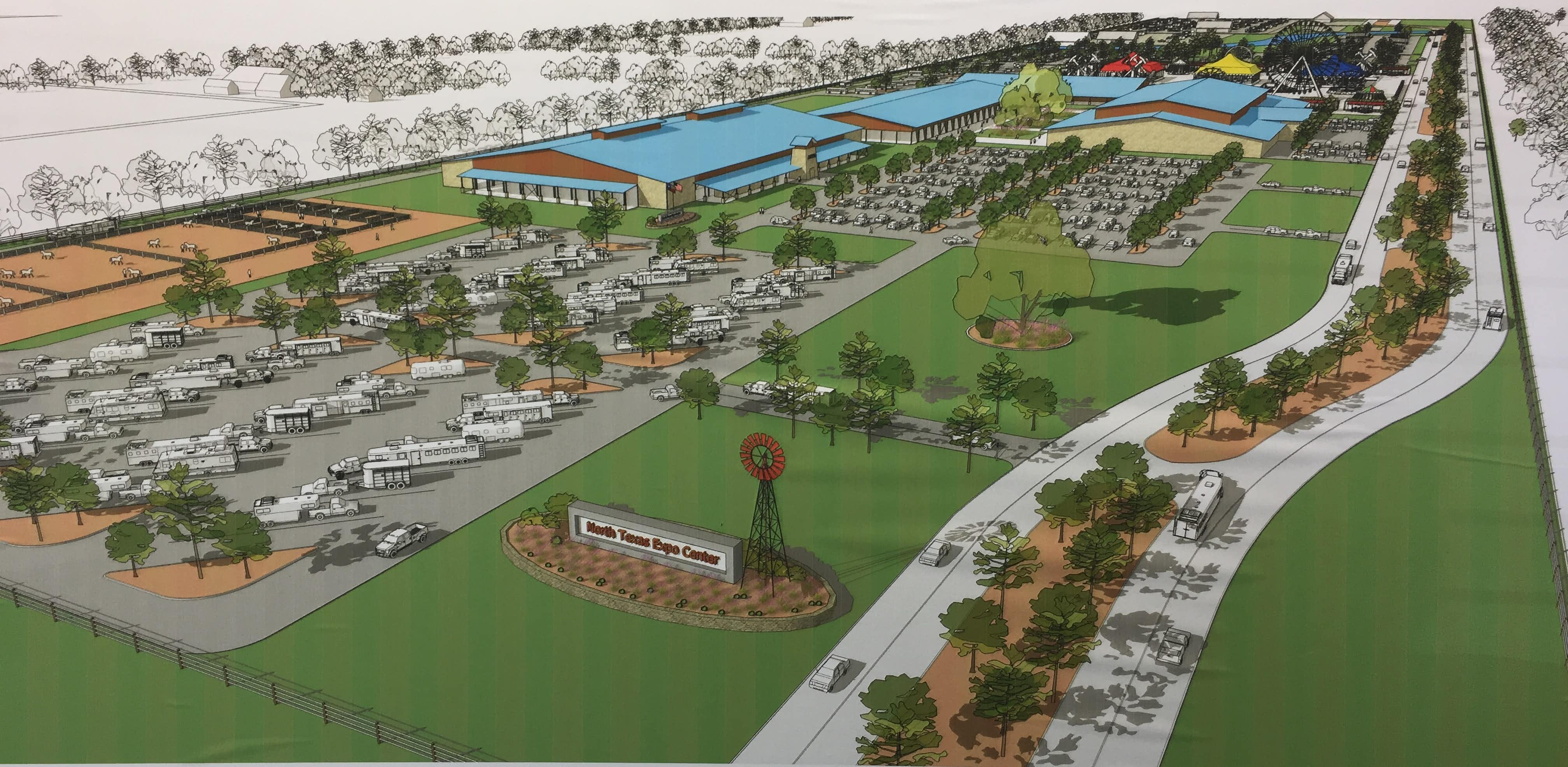 "<p><strong style=""font-size: 1em; background-color: transparent;"">An artist rendering of the North Texas Expo Center plan provided by the North Texas State Fair Association will more than triple the acreage currently available in the North Texas Fairgrounds.</strong></p>Courtesy"