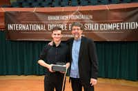 From left: Dominik Wagner, Grand Prix winner of the 2017 Bradetich Foundation International Double Bass Solo Competition, and founder Jeff Bradetich.Jack Unzicker
