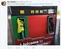 Denton resident Ben Huttash deployed a morsel of wry humor about the faux gasoline shortage last week. Lines were long when North Texas decided to panic about the availability of gas as refineries shut down after Hurricane Harvey.Ben Huttash