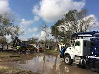 A city of Denton crew repairs a water main leak repair in Refugio after Hurricane Harvey.City of Denton