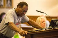 "<p>Willie Hudspeth shows his emotion while speaking to Denton County commissioners about the Confederate monument on the south lawn of the Courthouse on the Square <span style=""font-size: 1em; background-color: transparent;"">during Tuesday's meeting.</span></p>DRC"
