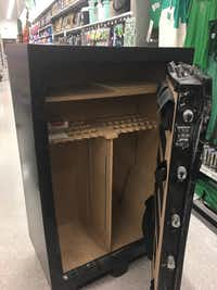 A young girl, either four or five years old, was locked inside this gun safe for at least 32 minutes Tuesday evening at Academy Sports and Outdoors in the 2600 block of West University Drive. Firefighters eventually had to pry it open with hand tools.Denton Fire Department