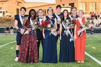 The Liberty Christian student body named their homecoming court during week-long festivities capped off by the homecoming football game. Pictured from left to right: Kason Howell, Adun Amosun, King Cameron Keller, Queen Savannah Holmes, Cole Croce, Kennedy Irwin, Caleb Shillingburg and Anna Sitzes.Liberty Christian