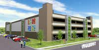 An artistic rendering of the proposed North Central Texas College downtown Denton Center's four-story parking garage between East Mulberry and East Sycamore streets.Axis Realty