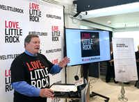 """Little Rock Mayor Mark Stodola discusses the city's decision to not pursue Amazon's proposed second headquarters at a news conference Thursday in Little Rock, Ark. The city ran a full-page ad in The Washington Post, telling the e-commerce giant: """"It's not you, it's us.""""AP"""