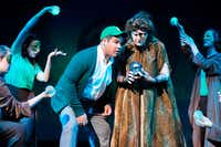 """The Witch (Cindy Maloney) and Edward Bloom (Anthony Ortega) in Musical Theatre of Denton's production of """"Big Fish,"""" which wraps up its run this weekend.DRC"""