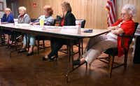 Shady Shores Mayor Olive Stephens, far right, listens to council candidates answer questions during a candidate forum in 2005 at the Shady Shores Community Center in Shady Shores. Sitting next to Stephens on her right is her opponent Elizabeth Nugent. Stephens defeated Nugent in the race.DRC