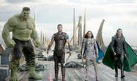 "Hulk (Mark Ruffalo), Thor (Chris Hemsworth), Valkyrie (Tessa Thompson) and Loki (Tom Hiddleston) star in ""Thor: Ragnarok."" MUST CREDIT: Marvel StudiosMarvel Studios"