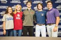 From left to right, Elizabeth Reneau, Sabrina Simms, Connor Holzkamper, Kason Howell and Dawson Barr pose for a photo. Student athletes at Liberty Christian School signed their letters of intent to go to various universities to play their sport., Wednesday, November, 8, 2017, Liberty Christian School in Argyle, Texas. Jake King/DRC ORG XMIT: txderDRC