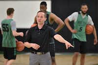 North Texas men's basketball coach Grant McCasland works with his players during practice this summer. McCasland picked up the nickname 'rat' during his playing days at Baylor because of his work ethic. That work ethic has helped him rise through the ranks of college coaches.DRC