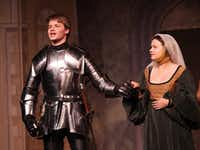 "<p>Bennett Frohock, left, plays the Earl of Richmond in Denton Community Theatre's 'Richard III."" He announces victory with his bride to be, Elizabeth of York (<span style=""font-size: 1em; background-color: transparent;"">Emily Chambers</span><span style=""font-size: 1em; background-color: transparent;"">).</span></p><p></p>Brad Speck"