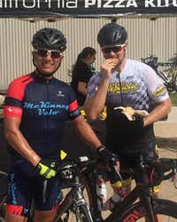 "<p><span style=""font-size: 1em; background-color: transparent;"">Hector Mendoza, left, is shown here with his friend Chase Hawkins at last year's Breakfast Kiwanis of Denton Turkey Roll. Bicycle rallies are how Mendoza gets his thrills, and the annual Turkey Roll ranks among his all-time favorite ones in which to ride each year.</span></p>Courtesy photo"