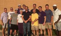 Eleven members of the 1987 Denton Bronco football team gathered recently outside the Jim Bateman Athletic Fieldhouse at Denton High for a 30th reunion of the team. Pictured is Bill Koberick, Stuart Mason, Lee Dean, Sam Pedigo, Chad Atkins, Matt Bateman, Patsy Bateman (wife of late head coach Jim Bateman), Todd Jensen, Doug Overstreet, Mitchell Borges and Raymond Redmon.Courtesy photo
