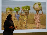 UNT philosophy graduate student Emmanuela Opoku presents her work during the Three Minute Thesis competition Saturday in the Lyceum at the University Union.DRC