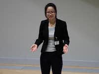 Materials science and engineering graduate student Xiaonan Lu presents her thesis for Saturday's Three Minute Thesis competition at UNT.DRC