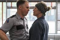 Sam Rockwell, left, and Frances McDormand in a scene from <i>Three Billboards Outside Ebbing, Missouri.</i>AP