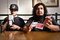 "Magicians, Blake ""Vegas"" Dvorak, left, and Ritchy Flo pose for a portrait at J & J's Pizza, Tuesday, November 14, 2017, in Denton, Texas, Jeff Woo/DRCDRC"